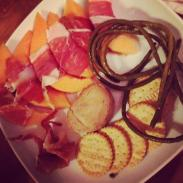 prosciutto wrapped melon, spicy pickled long beans, foie gras torchon...
