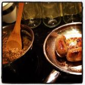 Loch Ness monster homemade sausage with steel cut oats and raisin sauce - an americanized version of haggis...