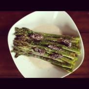 roasted asparagus, morels, white wine and mushroom cream