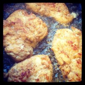 Chicken breasts fried in duck fat