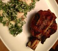 bbq'd little goat shank with kale potato salad