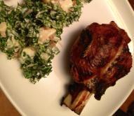 bbq'd little goat shank with kale potato salad