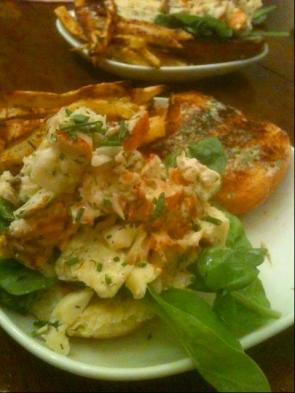 lobster rolls with herb dressing and baked sweet potato fries