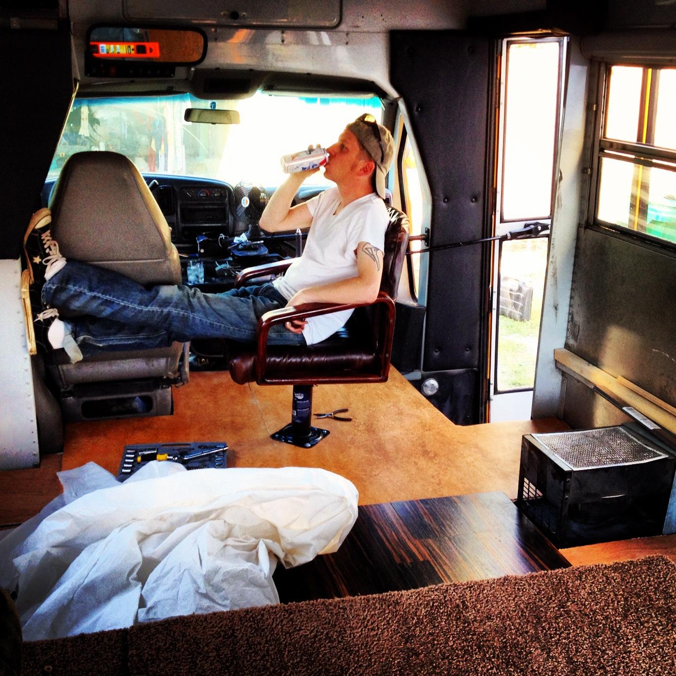 Bus conversion slideshow! Passenger seat installation – AND