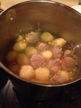 Steaming hot turkey meatball and potato dumpling soup!