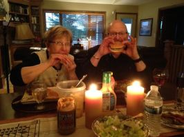 Mum and Pop Von Kroug enjoy a peanut butter burger!